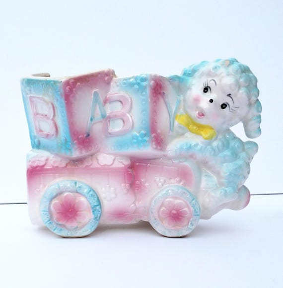 Vintage 1960's Pink and Blue Ceramic Baby Themed Container with Lamb