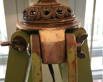 Beautiful Upcycled Industrial Lamp, Vintage Surveyor's Tripod, Copper, Wood
