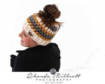 Messy Bun Hat Ombre Bun Beanie Bun Hat Crochet Girls Womens Hat Mustard Yellow Grey Gray