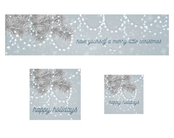 Silver Branches and Lights  Christmas Shop Banner Cover Photo Shop Icon and Avatar Premade Holiday
