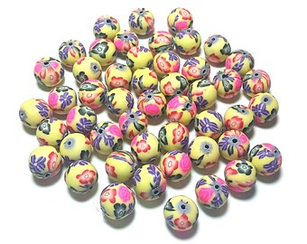 20 Fimo Polymer Clay Round Beads yellow red pink flowers beads 12mm