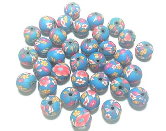 20 Fimo Polymer Clay Round Beads skyblue red flowers beads 12mm