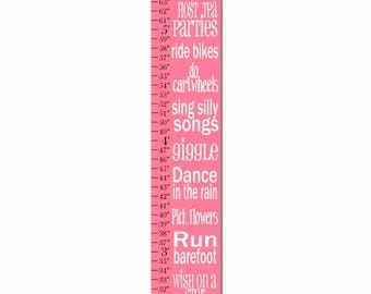 Play Dress Up Giggle Dream Big Pink Typography Girls Growth Chart, Height Chart, Ruler