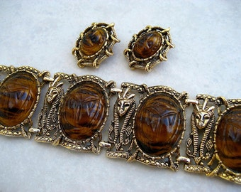 Vintage Wide Egyptian Bracelet Earrings Set Faux Tortoise Shell Lucite Scarab Pharaoh