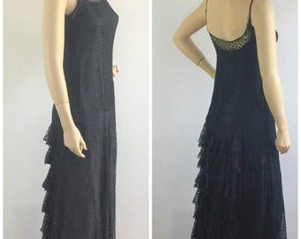 1930s Old Hollywood floor length black lace dress - 30s art deco formal evening dress- medium