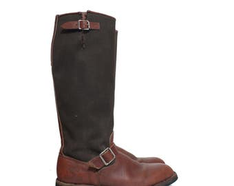 10.5 (Wide) | Vintage Snake Boot Wood and Stream Hunting Boots Canvas and Leather Boot
