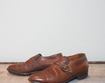 SALE 8.5 B/D | Men's Edwin Clapp's Adventurer Ii Wingtip Brogue Monkstrap Loafer Shoes in Medium Brown