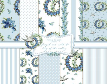 Digital Download Shabby Blue Chic Forget Me Nots Lily of the Valley Birds Doves Paper Pack SEAMLESS 2 Sizes Backgrounds Scrapbooking Clipart