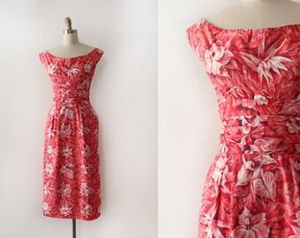 vintage 1950s sun dress // 50s pink Hawaiian cotton dress