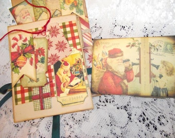 "One Glossine Brown Bag Altered Includes Card and Envelope For Christma Giving And Keepsakes 4 3/4"" X  8 7/8"""