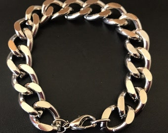 Bright Silver Tone Chunky Curb Chain Link Bracelet