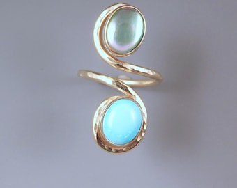 Abalone and Turquoise- Adjustable Size- Hammered Golden Swirl Statement Ring