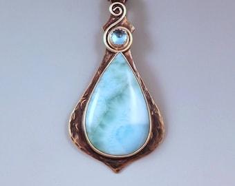 Larimar and Blue Topaz- Calming Azure- Serene Sky Blue- Smoky Bronze Patina- Metal Art Necklace