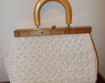 Made in Italy White Fabric Purse handbag vintage Pocket Book