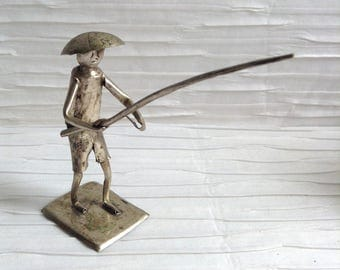 Fisherman metal sculpture art.  Mid century, Hollywood Regency, Modern, Eames Panton era. Vintage Modernist figure.
