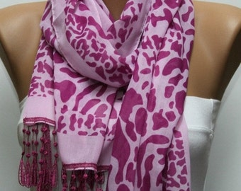 ON SALE - Pink & Cherry Leopard Print Scarf,Bohemian,Fall Shawl Cowl Scarf Gift For Her Bridesmaid Gifts Women Fashion Accessories