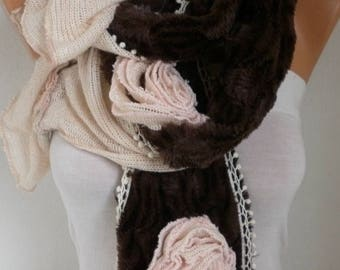 ON SALE --- Salmon & Brown Plush Scarf,Winter Scarf, Faux Fur Scarf Shawl Scarf Flower Scarf  Cowl Scarf  Gft Ideas For Her Women's Fashion