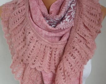 ON SALE --- Pink Knitted Scarf,Winter Shawl Cowl Lace Oversized Bridesmaid Bridal Accessories Gift Ideas For Her Women Fashion Accessories T