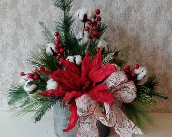 Christmas Arrangement, Rustic Home, Red and Gray, Table Top Holiday Faux Floral, Cottage, Farmhouse, Cotton and Pine