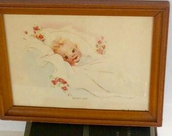 Vintage Charlotte Becker Baby Print / Framed Baby Print/ Nursery Print