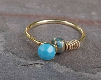 Turquoise 14kt Gold Nose Hoop Nose Ring 20G Gold Nose Ring