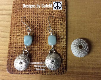 Silver shell earrings, fine silver, pmc and sterling, blue opal bead