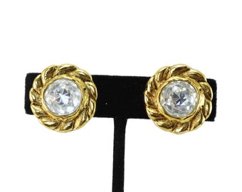Vintage CHANEL 1970s Sparkling Diamonte Crystal Earrings in Original Box Authentic!