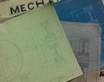 Industrial Mechanical Drawing, Cut Spur Gear, Drafting, Industrial Wall Decor, Frame-able Wall Art