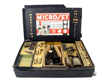 Vintage Microset Microscope Kit No. 3 MW (c.1920s) - Collectible, Home Decor, Photo Prop
