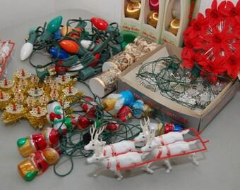 Vintage Christmas Lights Ornaments Reindeer Tree Toppers Lot