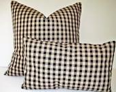 Black Tan Check Pillow Cover Ballard Designs Black Cream Black Farmhouse Pillow Black Check French Country