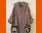 Sale Sexy Shoulders Plaid Shirt Top Blouse L XL Upcycled Beige Brick Red Brown Green Patchwork Bohemian Hippie Chic Festival Happy Camper