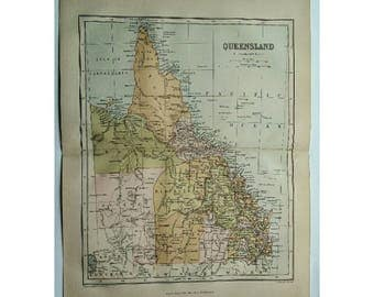 1881 Antique Map of Queensland Chambers Encyclopedia London Old Maps Original British Colony North Australia Vintage Maps Wall Art Decor