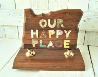 Vintage state trophy Oregon wood embellished collaged message upcycled 1960s