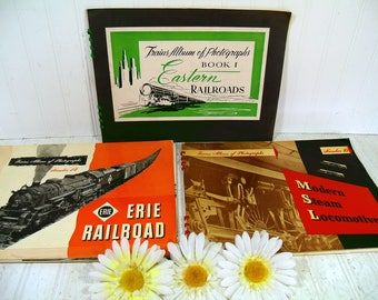 Trains Album of Photographs Collection of 3 Volumes - 3 Antique Photo Books of 1940s Earlier of Steam Locomotives / Eastern & Erie Railroads