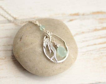 Sterling Silver Mermaid Birthstone Pendant Necklace... Choose Your Stone
