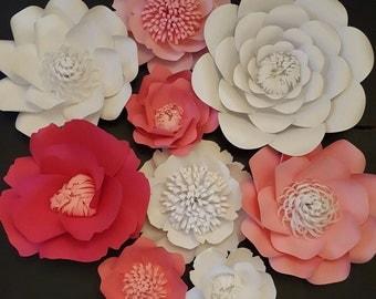 Large Pink Paper Flowers Set of 9 Large Paper Flower Photo Prop Backdrop Decor DIY Backdrop