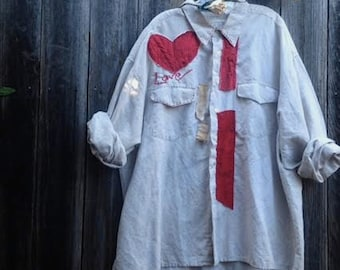 Custom example gift LOVE workwear red khaki garden shabby linen funky gypsy prairie chef artist potter ooak  farm rustic shirt