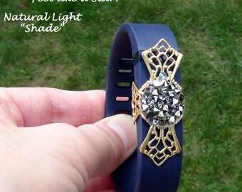 Fit Bit Slide, Jewelry - Swarovski Crystal AB Rocks, Brass Filigree Cross, Wrapped  - Hand Crafted Artisan Jewelry