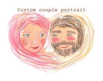 Personalized couple, personalised couple, couple gift, custom couple portrait