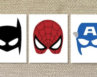 Superhero Wall Decor, Superhero Printable Wall Art, Batman, Spiderman, Superhero decor- File Download