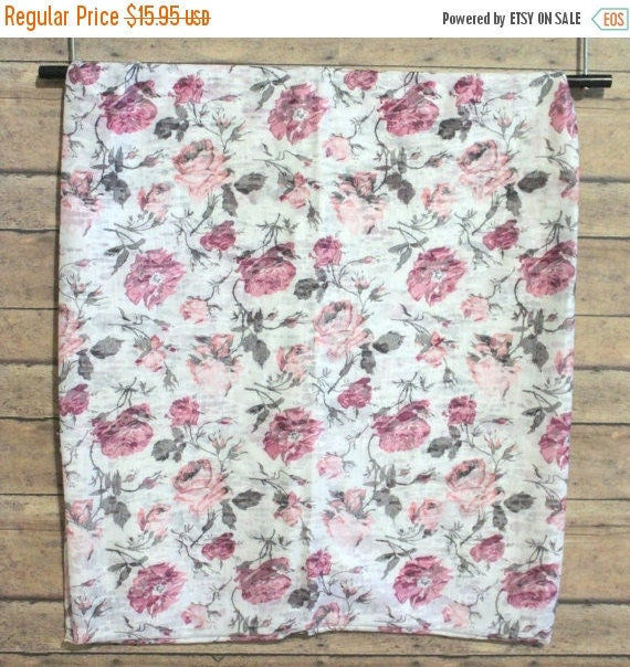 """Scarf Lightweight Burnout Floral Infinity Scarf Loop Scarf Wrap Scarf Double Layer SOFT 14"""" x 60"""" Women's Accessories Handmade in the USA"""