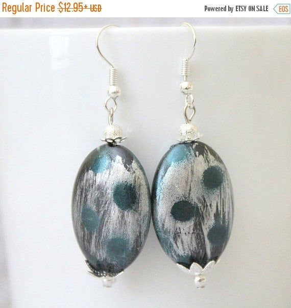 Silver and Blue Earrings/Oval Earrings/.925 Sterling Silver French Wires/Lightweight Earrings/One of A Kind Jewelry/Gifts for Her