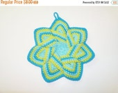 End of Year Sale Star Flower Potholder -Turquoise, Lime, and Aqua- 100% Cotton, Ecofriendly, Re-usable, Reversible