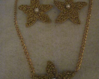 Rescued/Upcycled 1950's Cloth Starfish Beaded Necklace and Earring Set......one of a kind.1364h