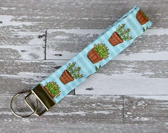 Succulent Wristlet Key Fob - Cute Cactus Keychain / Succulent Plant Fabric / Blue Fabric Wristlet / Cotton Key Fob / Trendy Plant Lover Gift