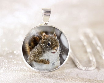 Sterling Silver Squirrel Necklace - Snowy Squirrel Jewelry, Red Squirrel Pendant, Silver Animal Necklace, Silver Wildlife Jewelry Gift