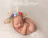 Whimsical Baby Girl Deer Bonnet-Newborn Fawn Bonnet-Newborn Hat with Antlers-Newborn Photo Props-Baby Girl Photo Props-Newborn Deer Hat