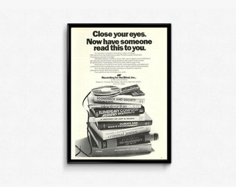 Recording for the Blind Ad • Close Your Eyes Graphic • Audio Books Program • Simplistic 80s Advertising •  Black and White Magazine Page