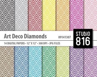 Art Deco Diamonds - Digital Paper for Scrapbooking, Cardmaking, Papercrafts #09141307